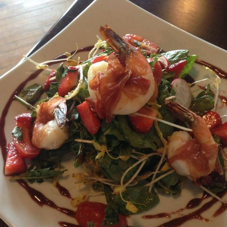 Leominster, MA: Prosciutto wrapped Shrimp and Local Strawberry Salad