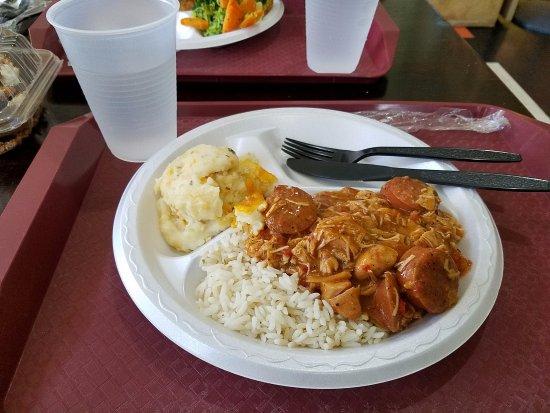 Hoover, AL: Inexpensive plastic Tableware, Styrofoam Plate. The food displayed was very good.