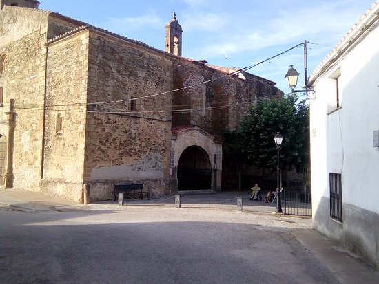 Monroy, Spain: The church from outside