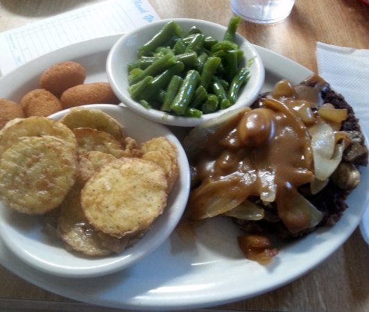 Angie's Restaurant: Hamburger steak - it's what's for lunch.