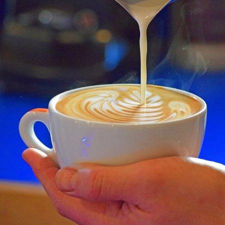 Hamilton, MT: House roasted espresso with local organic milk served in fine Italian ceramic cups.