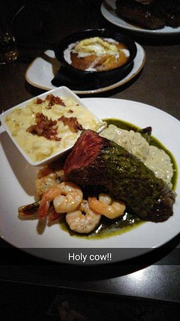 Kearney, NE: Hanger steak with a chimichurri sauce, blue cheese sauce, butter poached shrimp, homemade smoked