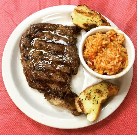 Chalmette, LA: Rib Eye steak with jambalaya