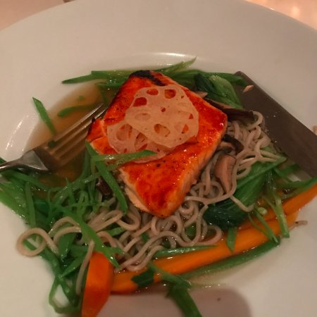 Yonkers, NY: salmon with soba noodle bed