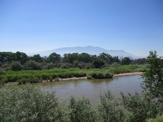 Bernalillo, Nuevo Mexico: Rio Grande with Sandia mountains in the background