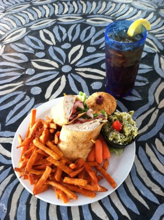 Fletcher, NC: Turkey Bravo wrap, Pesto Penne, Hummus and Sweet Potato Fries