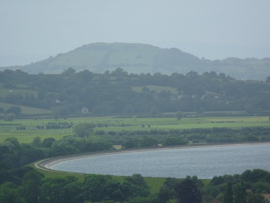View from tower to Cheddar Resevoir and Brent Knoll