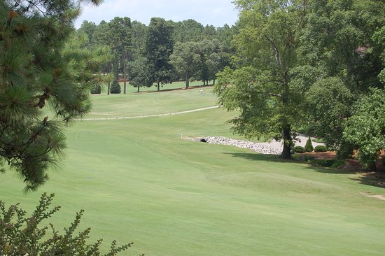 Pinehurst, NC: Tee box (in distance) and fairway for Hole #9 on Course #3