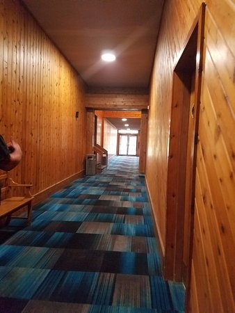 Days Inn Lincoln: Hallways give a lodge feel going to breakfast or indoor pool areas