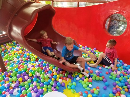 """The Woodlands, TX: The """"ball pit"""" at the end of the tube slide is seriously lacking balls. :-( And crushed balls, t"""