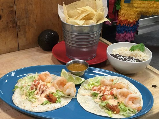Crispy Chips And Our Beautiful Shrimp Tacos Served With Rice And