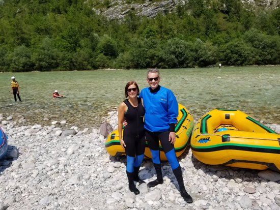 Bovec, Slovenia: Steph & Craig about the raft the Soca River