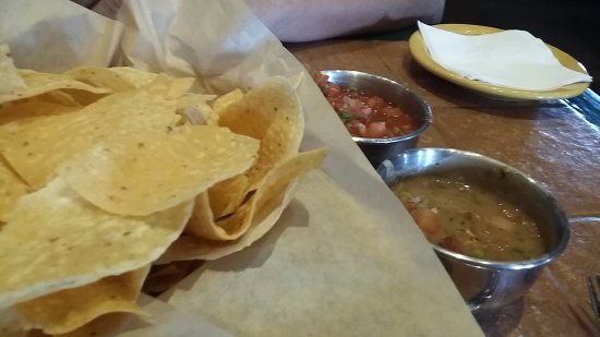 Pearland, TX: Chips and salsa.  One is a bean salsa.