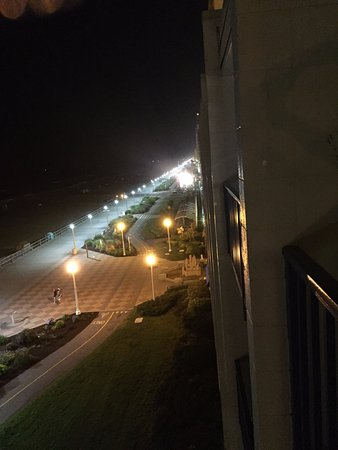 Belvedere Beach Resort: Looking at the boardwalk lit up at night from the balcony of my room.