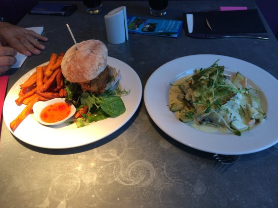 Fordingbridge, UK: Chicken Burger with sweet chilli sauce and sweet potato fries. Trout Fillet on chive and salmon