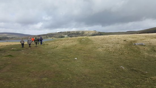 Malham, UK: The Tarn approach on the left