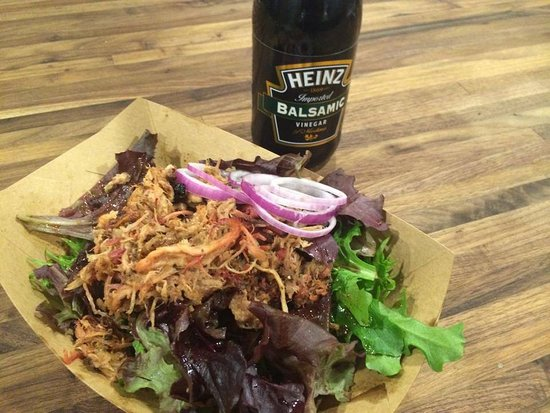 Alpine, TX: Spring mix salad with pulled pork and homemade balsamic vinaigrette