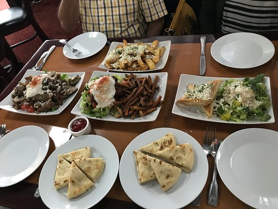 Burien, WA: Gyro, Falafel, Greek salad, Greek fries, Grilled pita bread and Spanakopita