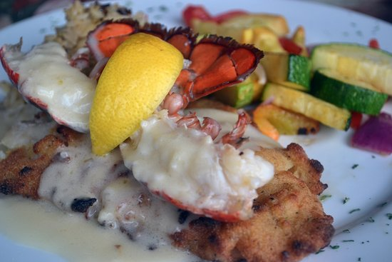 Niceville, FL: Panéed domestic Gulf grouper topped with Maine lobster meat and a sherry butter sauce.