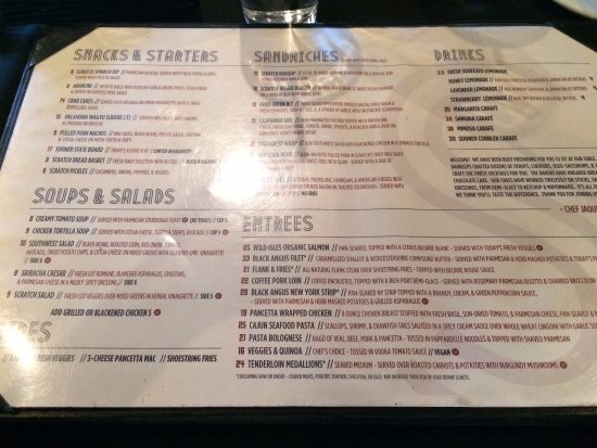 Norman, OK: The menu