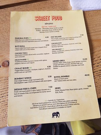 Food Menu Picture Of Indian Brewery Snowhill Birmingham