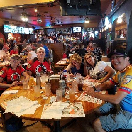 Peninsula, OH : Seven bikers enjoying refreshments on a hot day