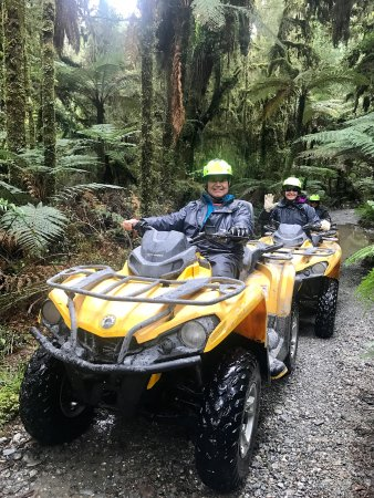 Franz Josef, New Zealand: Riding thru rain forest, muddy trail