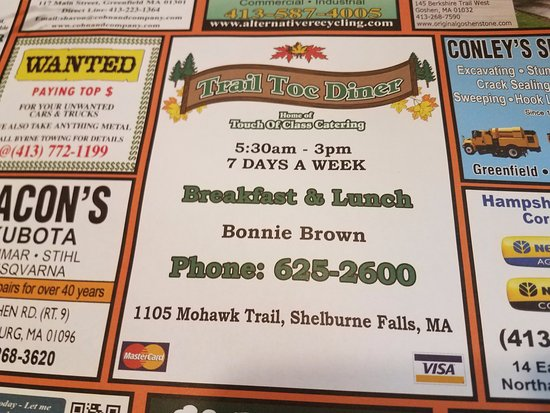 Shelburne Falls, MA: placemat tells the hours
