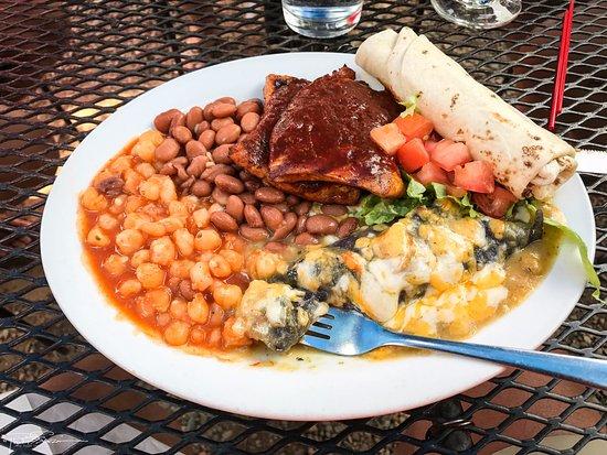 El Prado, NM: Reina ... blue corn enchilada, pork medallions, pasole and beans.