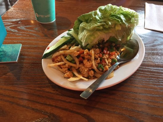 Brea, CA: Lettuce wraps-chicken a little spicy and great!