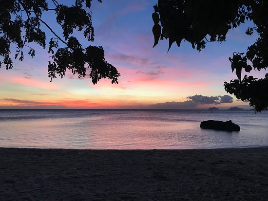 Castaway Island (Qalito), Fiji: Sunset from our room