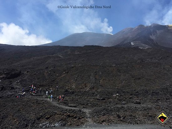 Linguaglossa, Italy: People on the volcano