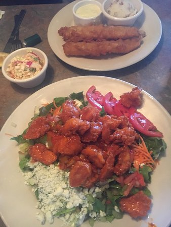 Urbandale, IA: Buffalo Chicken salad and fish dinner