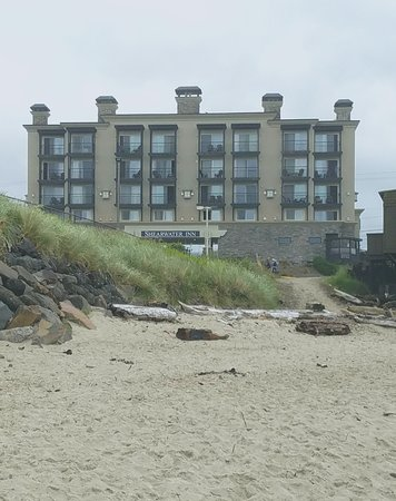 View of Shearwater Inn taken from the beach. Easy access!