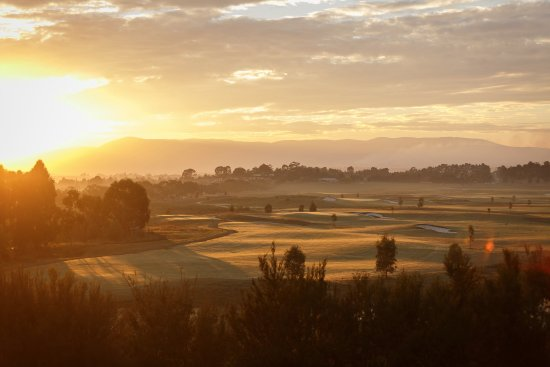 Yering, Australia: Morning sunrise over the Greg Norman designed, Eastern Golf Club.