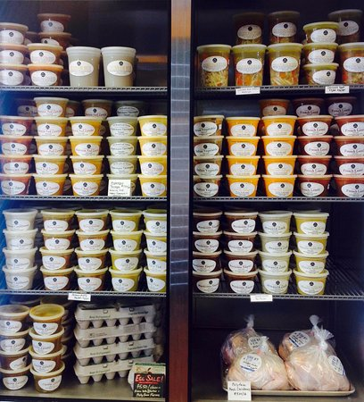 Herndon, VA: Our grab and go refrigerator full of fresh, nourishing vegan and meat based soups.