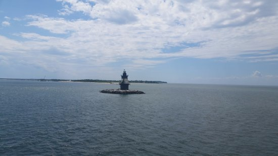 View from the upper deck of one lighthouse as we approach Orient Point.