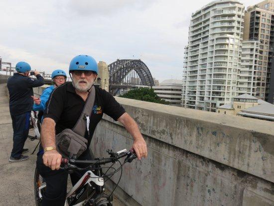 BlueBananas Electric Bike Tours: Photo op after cycling THE bridge.