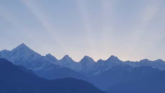 Just before Sunrise view of Panchshul Peaks from our room Balcony