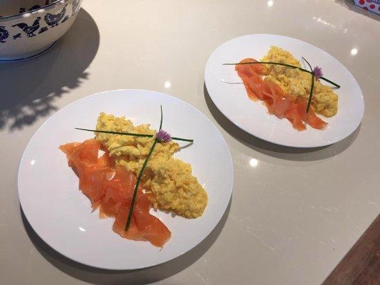 Waterrow, UK: Smoked Salmon and Scrambled Duck eggs