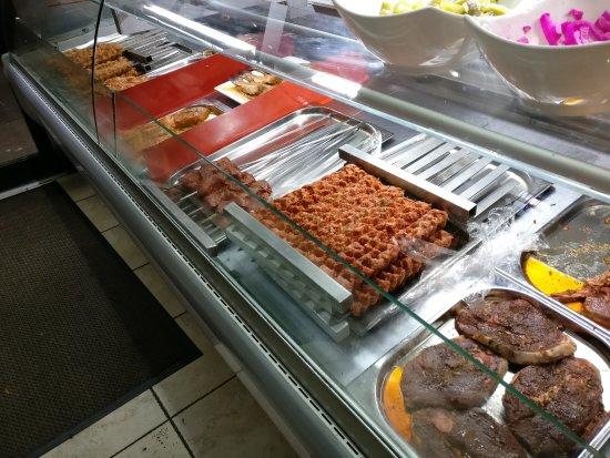 Bader Restaurant: Kebabs at counter