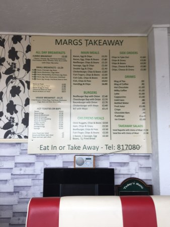 Denbigh, UK: Cafe front and takeaway menu.