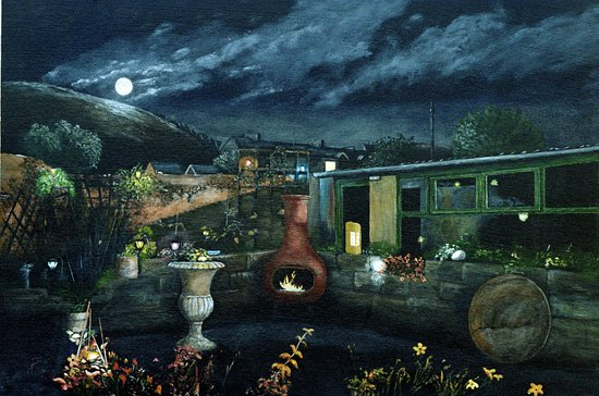 Port Talbot, UK: painting of guest house garden by local artist