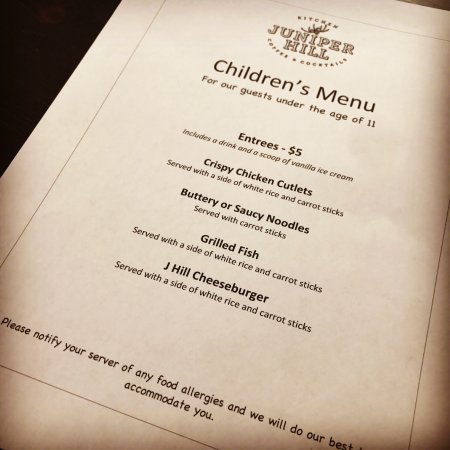 Annandale, NJ: kids' menu
