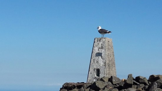 Falkland, UK: Cairn and Trig point at Hill peak.