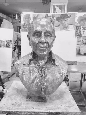 Zanesville, OH: .Alan just finished sculpting Joe Medicine Crow who died recently at age 102. He was the last Cr
