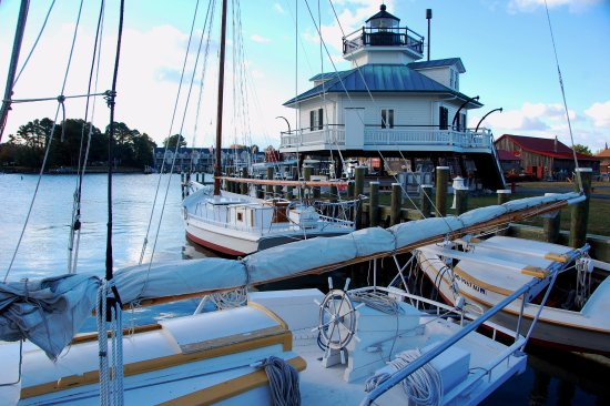 St. Michaels, MD: Hooper Strait Lighthouse and CBMM's floating fleet of historic boats