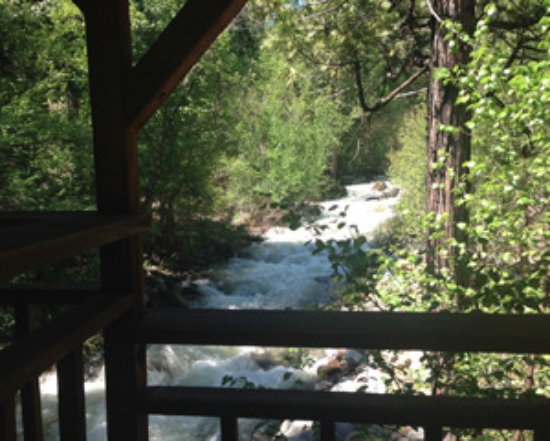 Weed, CA: The view of Parks Creek from our covered bridge.