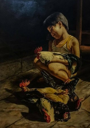 Luzon, Philippines: Portrait of Peter Paul along with their chickens. Jan made this portrait at the age of 15.
