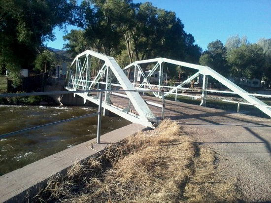 Howard, CO: The bridge/ road across the Arkansas River in back of the hotel. Nice, quiet road to take a walk